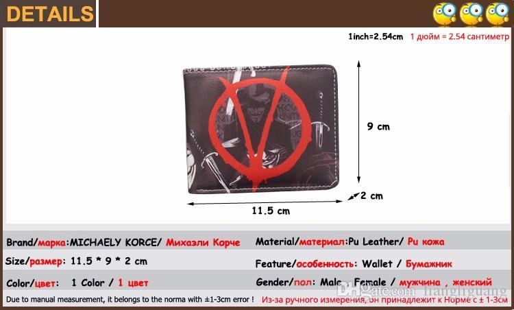 Bifold Movie V FOR VENDETTA Wallet For Men Women Short Purse Leather Money Bag Clip Original Brand VforVendetta Logo Wallet