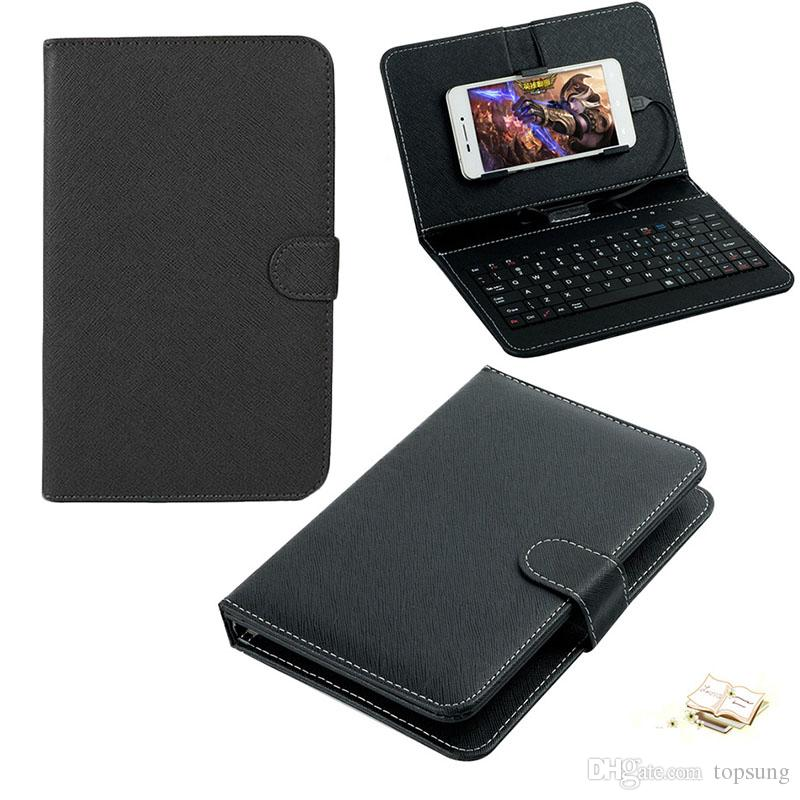 Leather Case with USB Keyboard for Most Android System Mobile Phone Flip Cover with Stand Mini USB Wired Keyboard