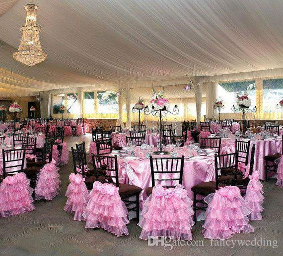Custom Made 2017 Pink Organza 3D Flower Chair Covers Vintage Romantic Chair Sashes Beautiful Fashion Wedding Decorations 05