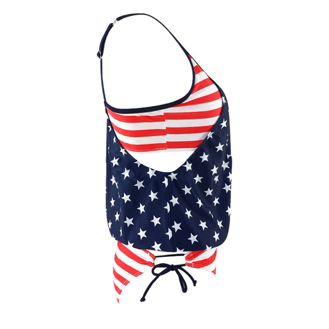 2018 горячая сексуальная бикини мода бахрома американский флаг купальники мягкий купальник купальный костюм пляжный комплект бикини 2 шт. / Компл. Бесплатная доставка