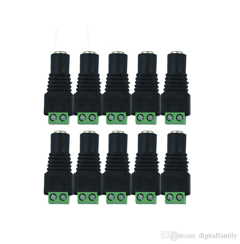 DC poder femenino clavijas jack conector para 3528 SMD 5050 SMD llevó la luz de tira de 5,5 x 2,1 mm