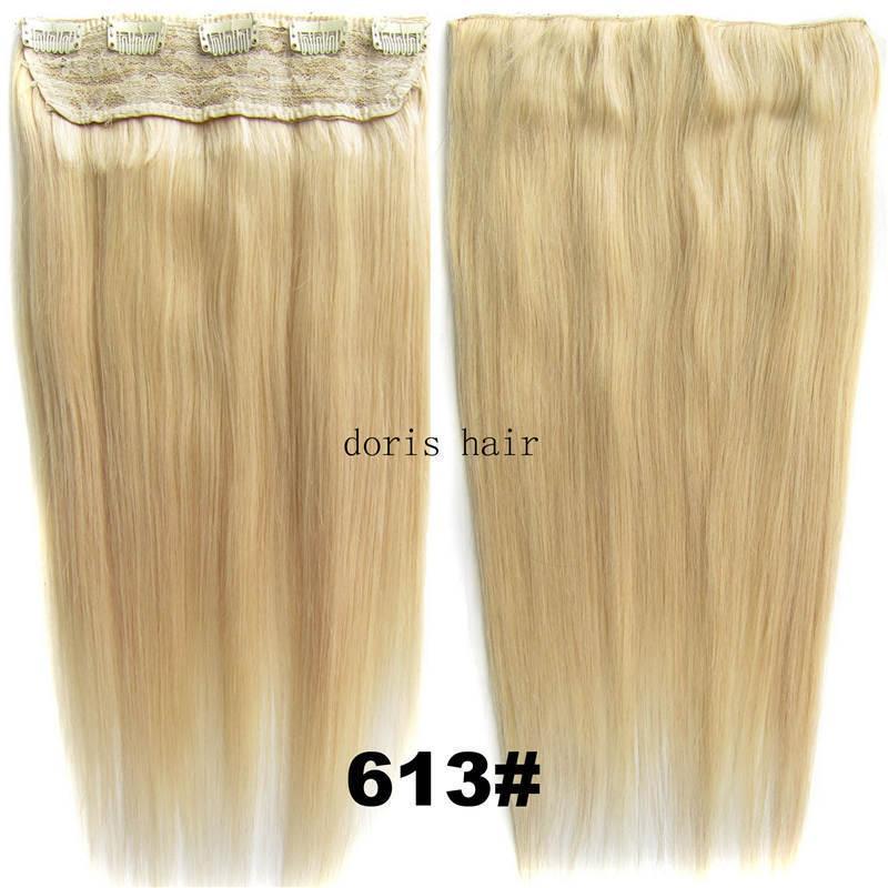 Clipe de luxo em extensões de cabelo humano cor Remy cabelo reto 105g com laço de cabeça cheia blond marrom DHL livre
