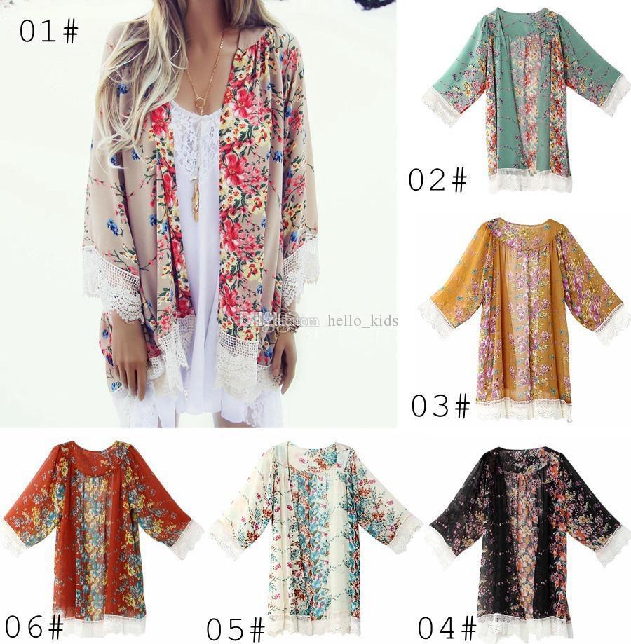 Vintage Chiffon Blouse Big Girl Women Printed Kimono Cardigan Fransed Hem Spets Sjal Stora Toppar Outwear Blusas Femininas Poncho Outwear