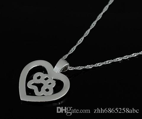 Dog Cat Paw Print in Cut Out Heart Crystal Paved Pendant Necklace Love Animal Pet Jewelry for Women And Girls