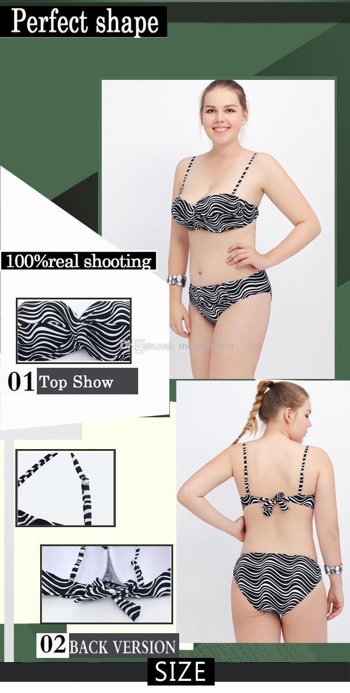 Maillot de bain grande taille 2017 nouvelle dame fendue à rayures bikini sexy de la mode taille L à 4XL sangle avec plastron rayures grises magnifique 1111
