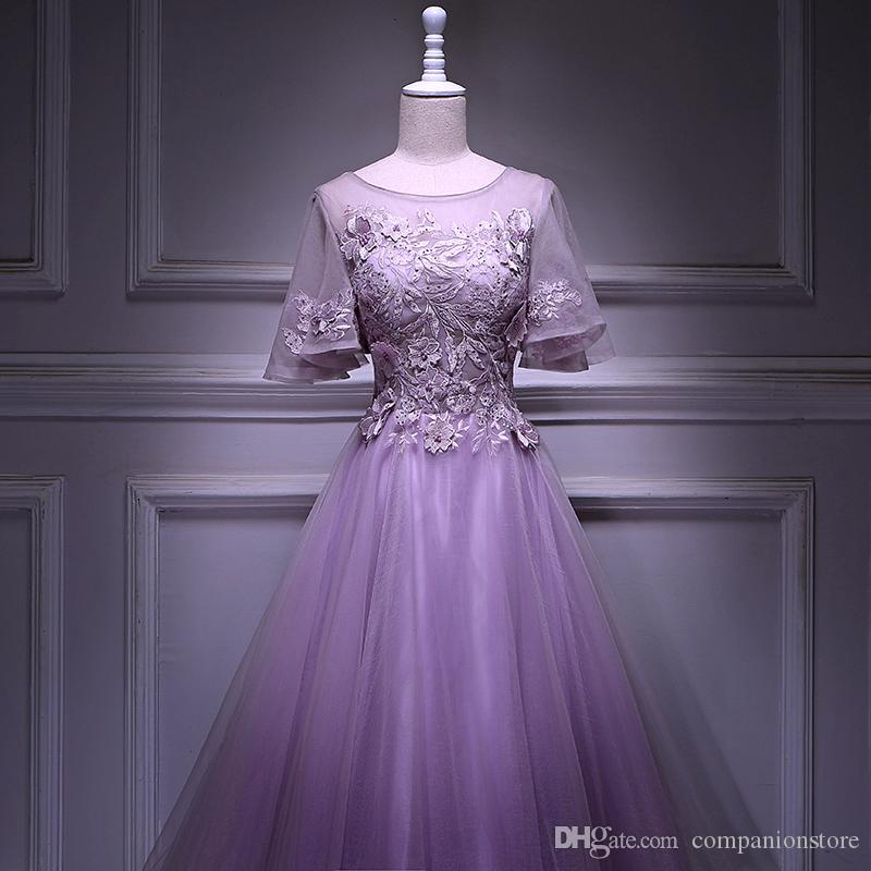 High Quality Lavender Tulle Scoop Neck Backless Lace Up Short Trumpet Sleeve Pearls Appliques Floor Length Ball Gown Long Prom Party Dress