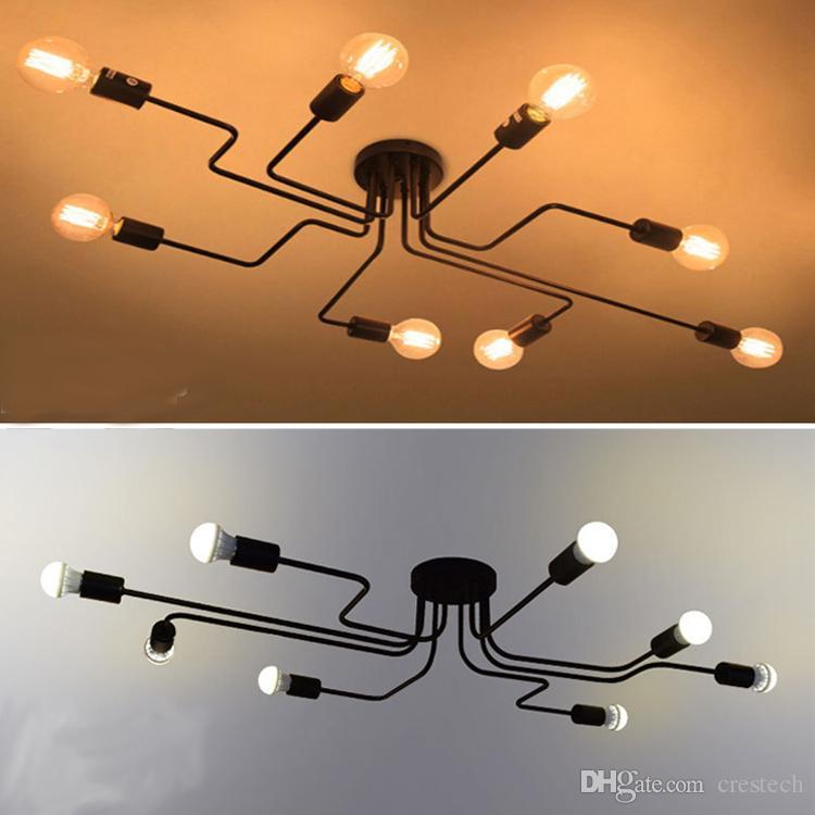 Personnalité plafonnier plafonniers lustres led long fer lustre, lampe de chambre salon décoration, personnalisation de la lampe