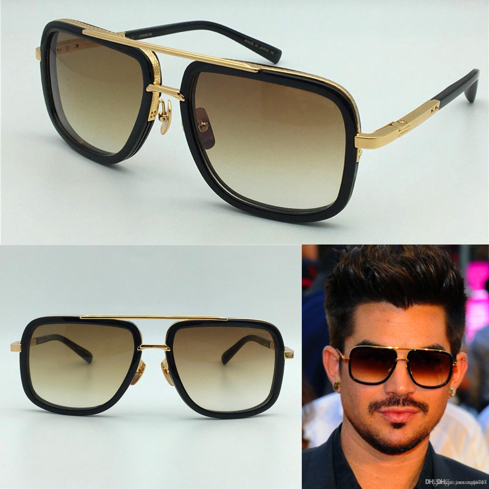 712cd248c8 Hot New Men Brand Designer Sunglasses Titanium Sunglasses Gold Plated  Vintage Retro Style Square Frame UV400 Lens Original Case Circle Sunglasses  Glass ...
