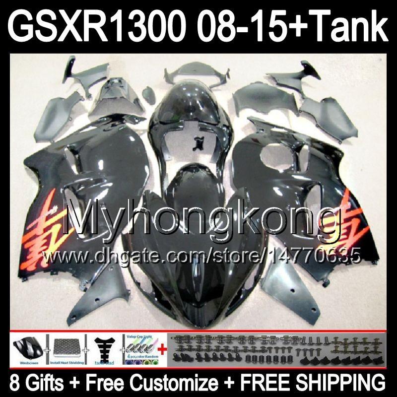 Parlak siyah 8 Çiftler Için SUZUKI Hayabusa GSXR1300 08 15 GSXR-1300 14MY4 GSXR 1300 GSX R1300 08 09 10 11 12 13 14 15 Fairing parlak siyah Kiti