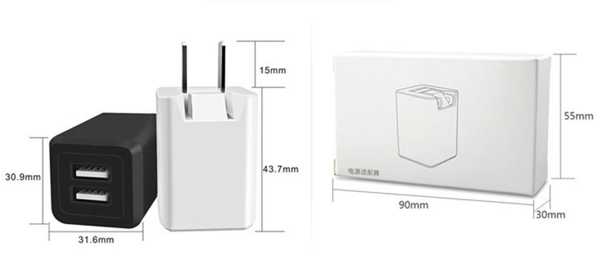 Mobile phone charger manufacturers selling 5 v 1 a fold-down charger environmental PE and abs head pure copper feet usb charger