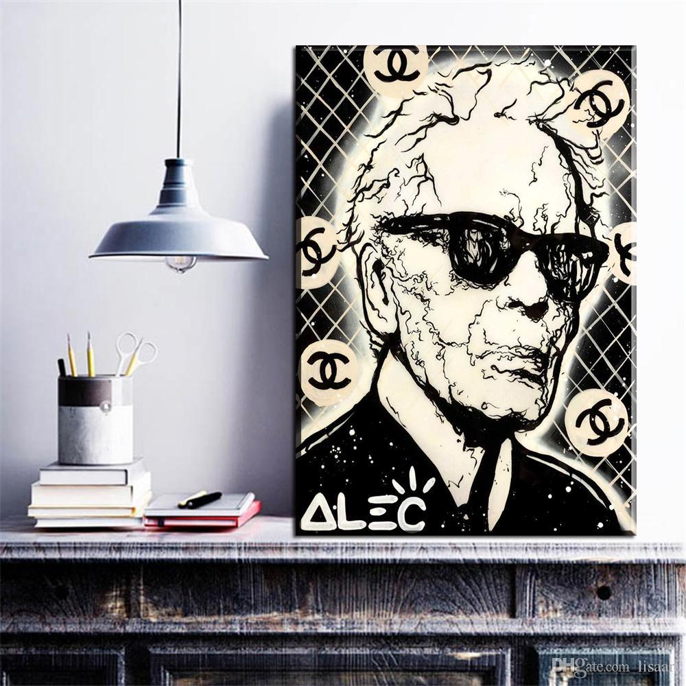 ZZ269 black white portrait canvas art alec monopoly man canvas oil art painting wall pictures for livingroom bedroom decoration