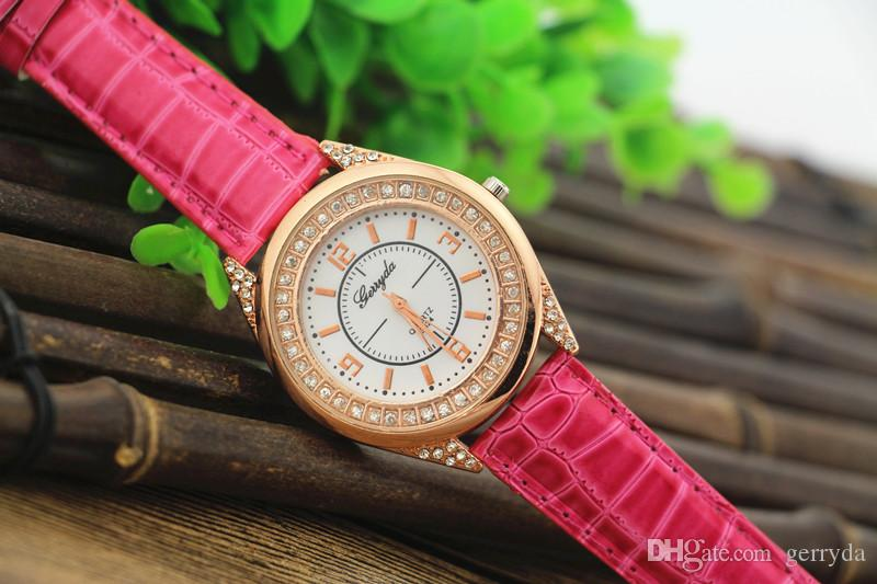 !Factory price!PVC leather,gold plate alloy case,rhinestone circle under glass,gerryda fashion woman lady leather watch,624