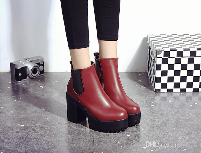 Spring Autumn Women Boots Platforms Square Heel Ankle Boots Paint Leather Fashion Motorcycle Boots Metal Decoration