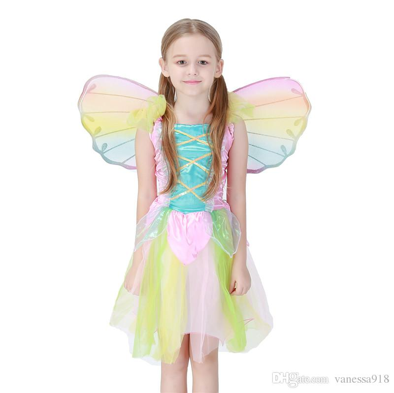 New Hot Kids Fairy Angel Wings Halloween Party cosplay Fancy Dress Costume size for kids Rainbow color Wholesale PS043