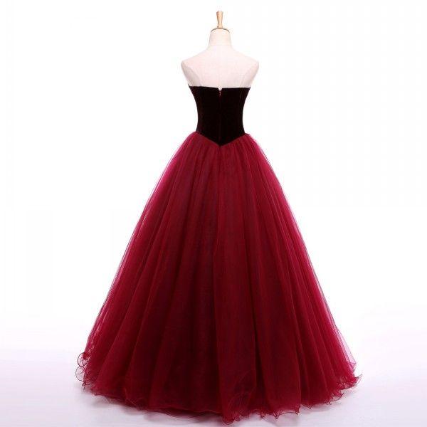 Burgundy Dard Red Prom Dress A Line Sweetheart Sleeveless Velvet Top Custom Made Long Formal Evening Party Gowns Floor Length Wear