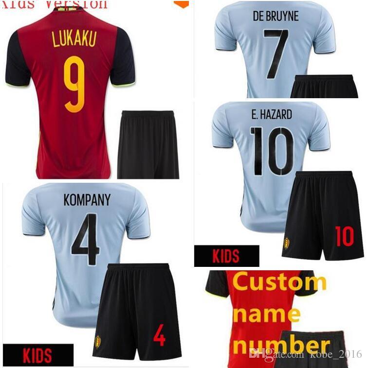 4f0831079 Discount Belgium Kids Eruo Soccer Jersey 2016 E.Hazard Home Red Away Blue  Lukaku Kompany Thai Quality Belgium Childrens Football Shirts 2016 From  China ...