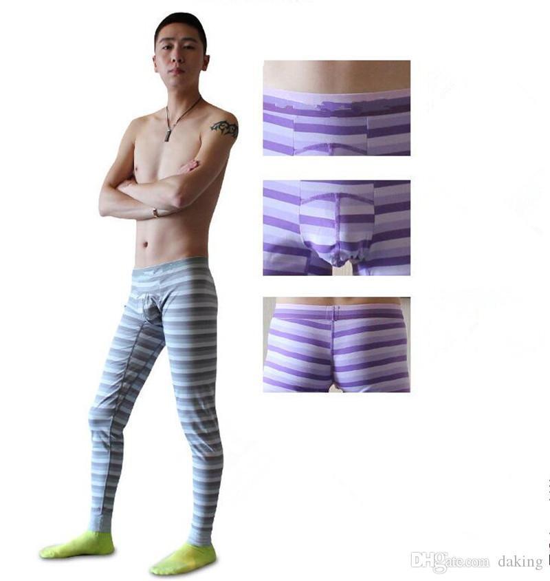 Imprimer Stripe Hommes Leggings Automne Hiver New Style Tide Russie Chine brave homme bleu jaune caleçon long Slim Elasticité pantalons Blending coton
