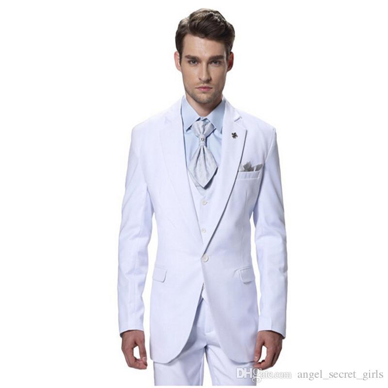 Compre Homem Personalizado Ternos Slim Fit Homens Brancos Casamento Tuxedo Moda  Terno Com Modernos Fatos De Festa Bonito Prom Jaqueta + Calça + Colete De  ... 92c8f9abc77