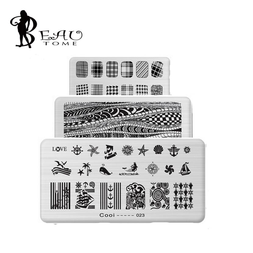 Wholesale 612cm Stainless Steel Nail Art Stamping Plates Geometric