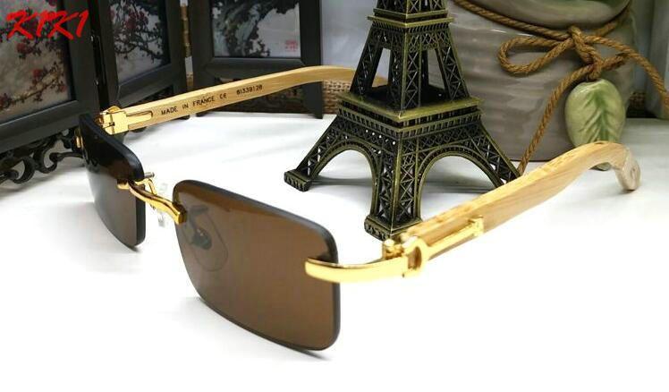 c2a3dd6242 France Design Men Rimless Glasses Wooden Buffalo Horn Glasses Brand Optical  Sunglasses Women Gold Wood Glasses Eyewear Frames Prescription Glasses  Sunglass ...