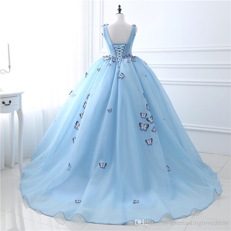 Stock Cuello en V Flores de mariposa Vestidos de baile Vestido de fiesta largo Vestido de fiesta azul Vestidos de fiesta hinchados de alta calidad US2 4 6 8 10 12 14 16