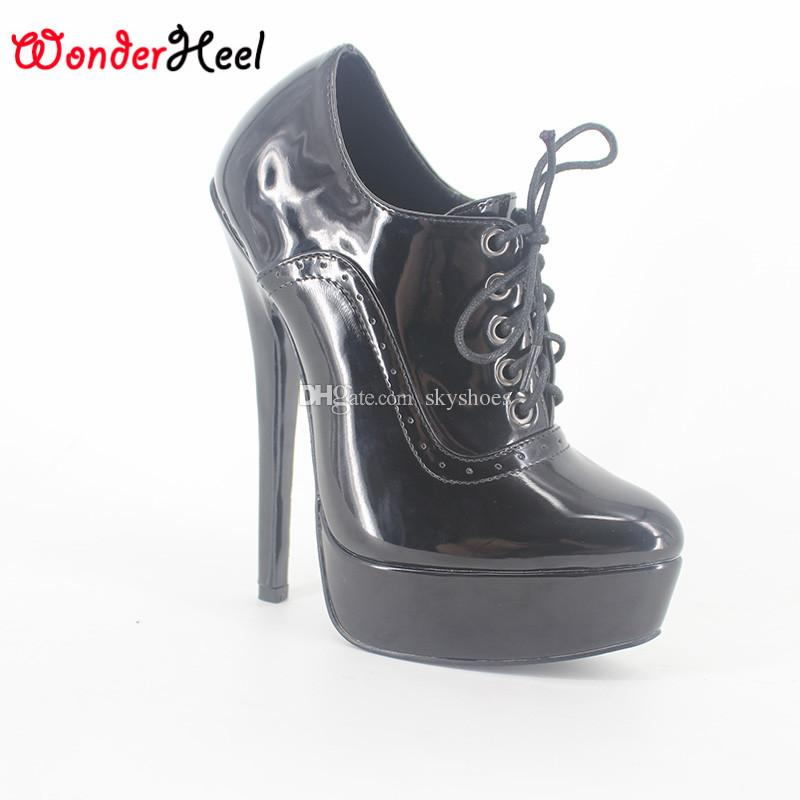 85e6d9accf3 Wonderheel NEW Extreme High Heel 18cm Stiletto Heel Black Patent Lace Up  Pump Sexy Fetish High Heel Sexy Platform Pumps 18cm Heel Platform Pump  Stiletto ...