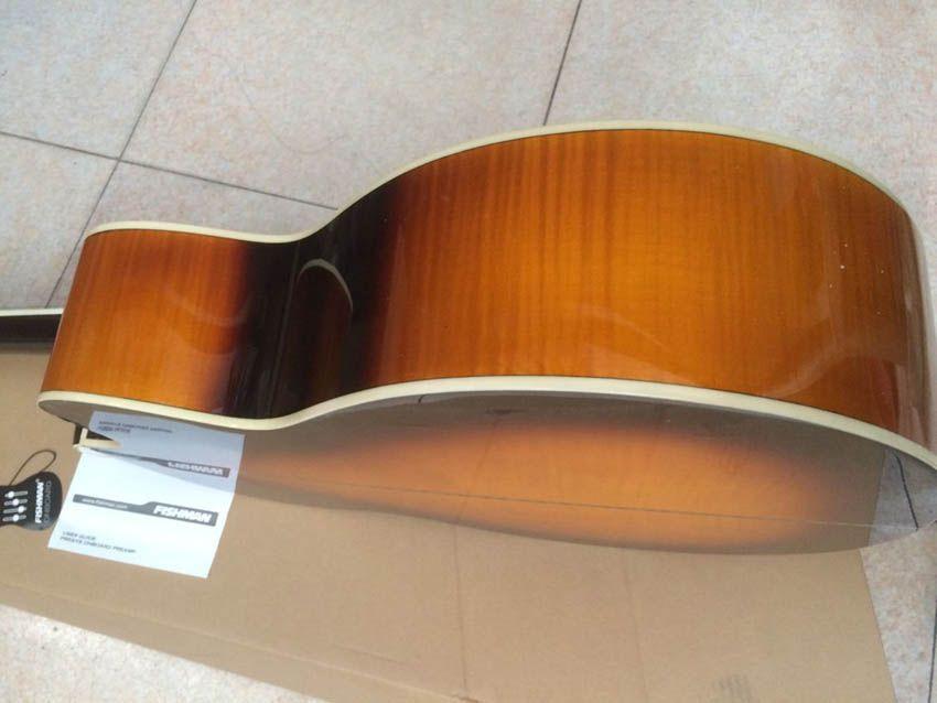 Livraison gratuite gaucher guitare acoustique couleur Jumbo Sunburst de 43 pouces, table en épicéa massif, guitares fabriquées en Chine J200