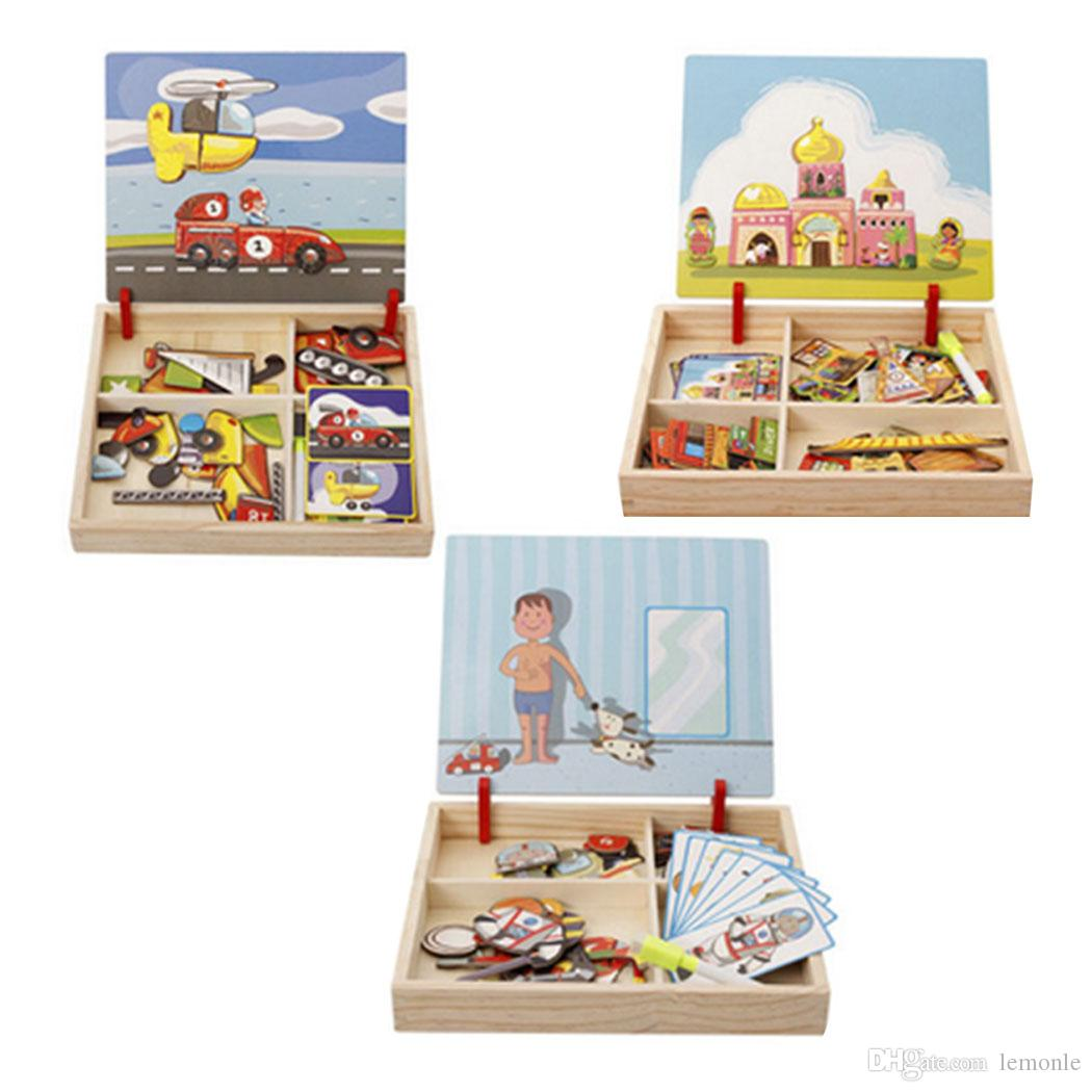 Wooden Children Circus Traffic Transport Puzzle Writing Magnetic Drawing Board Blackboard Learning Education Toys For Kids Free Ship