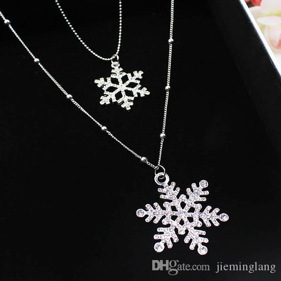 Camisola de inverno colar floco de neve camada dupla zircônia cúbica colar de cadeia longa para as mulheres