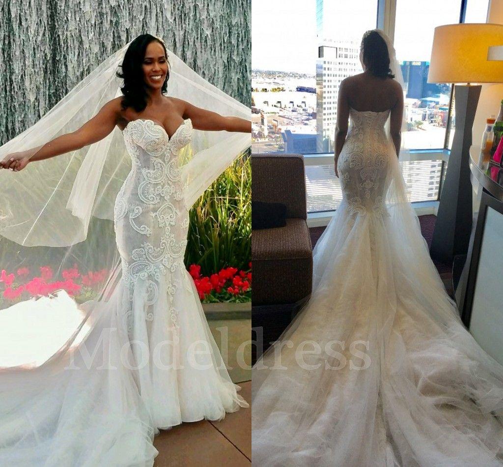 82eb32ffca6d Steven Khalil New Mermaid Lace Wedding Dresses 2018 Sweetheart Appliques  Beading Trumpet Chapel Train Vintage Arabic Bridal Gown Plus Size Wedding  Dress ...