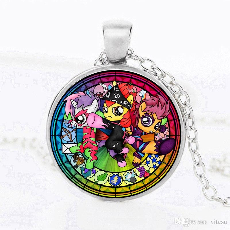 2017 US Cartoon Characters Expressions Sign Glass Necklaces Pendant Silver Rainbow Pony DIY Time gem Necklce Gifts For Kids jewelry