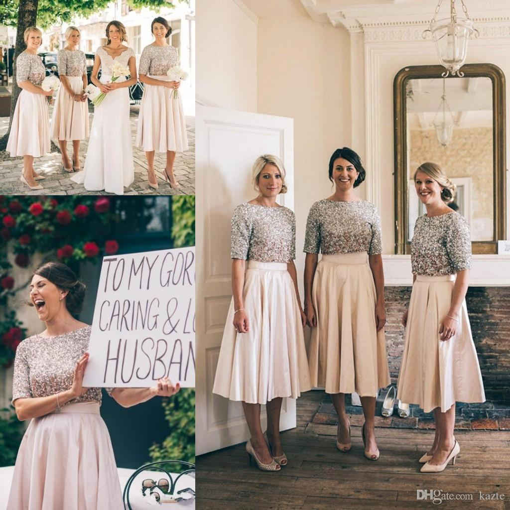 Sparkly blush sequins tea length country bridesmaid dresses 2017 sparkly blush sequins tea length country bridesmaid dresses 2017 two pieces dhort dleeve junior maid of honor wedding party guest gown jr bridesmaid dresses ombrellifo Image collections