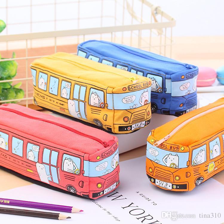 Caso della matita dei bambini Bus del fumetto della borsa della cancelleria dell'automobile Animali svegli Sacchetti della matita della tela le ragazze dei ragazzi Forniture scolastiche Giocattoli Regali IB429