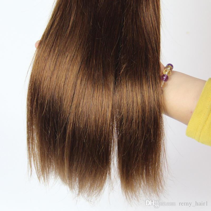 En Kaliteli Malezya İnsan Saç # 4 Orta Kahverengi İnsan Saç Atkı Uzantıları Çikolata Kahverengi Malezya Saç Örgü Demetleri Çift Atkı