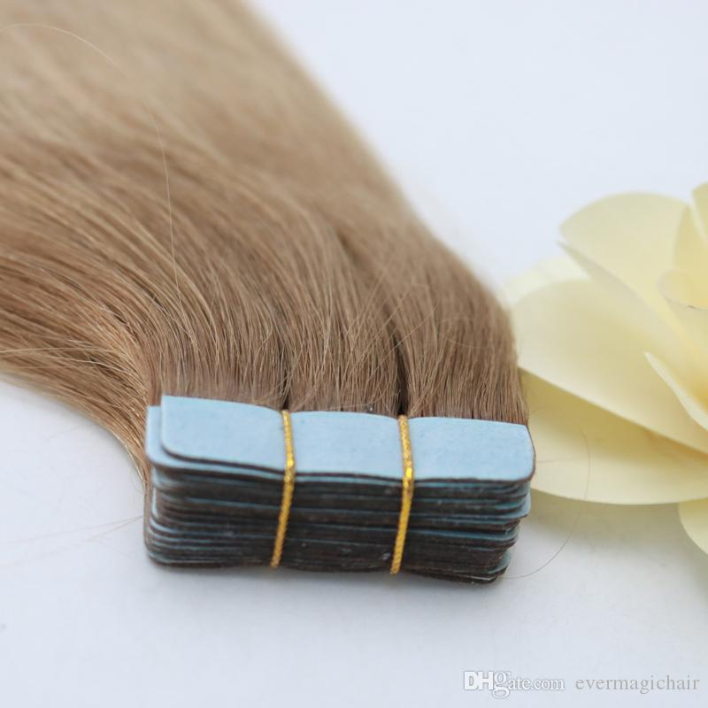 Fashion Blonde Human Hair Weave In Stock Pu Skin Weft Remy Hair Tangle Free color T6 24 Types Brazilian Hair