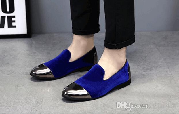 2018 Trendy Designer Britânico Dos Homens apontou borla BLUE Homecoming vestido de festa sapatos de casamento oxford apartamentos loafers mocassins masculinos DHA33