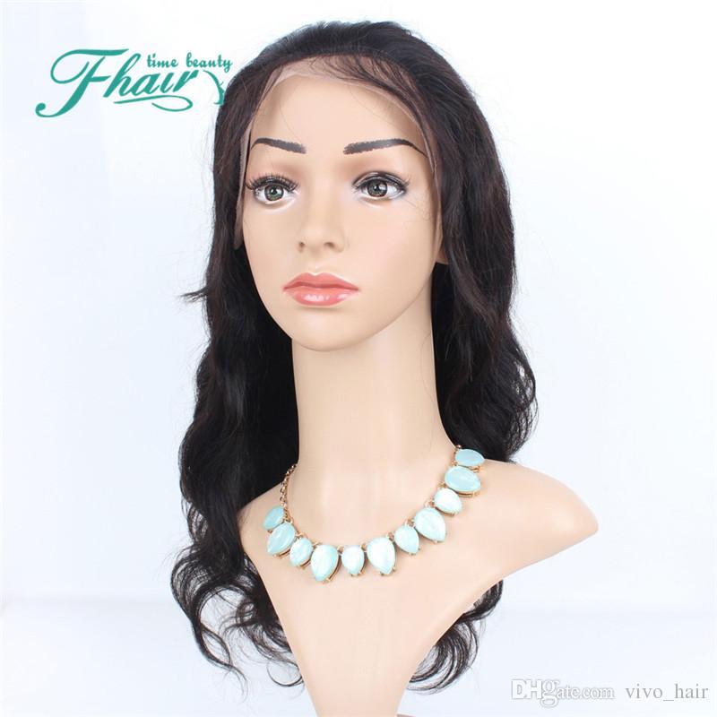 Gros pas cher soie sans colle Top Full Lace perruque vierge brésilienne de cheveux humains vague de corps de soie base de dentelle perruques avec noeuds blanchis cheveux de bébé