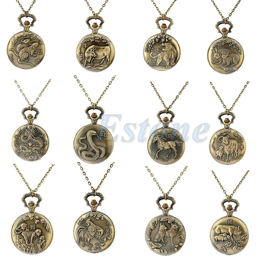 zodiac pendant rooster chinese necklace gold