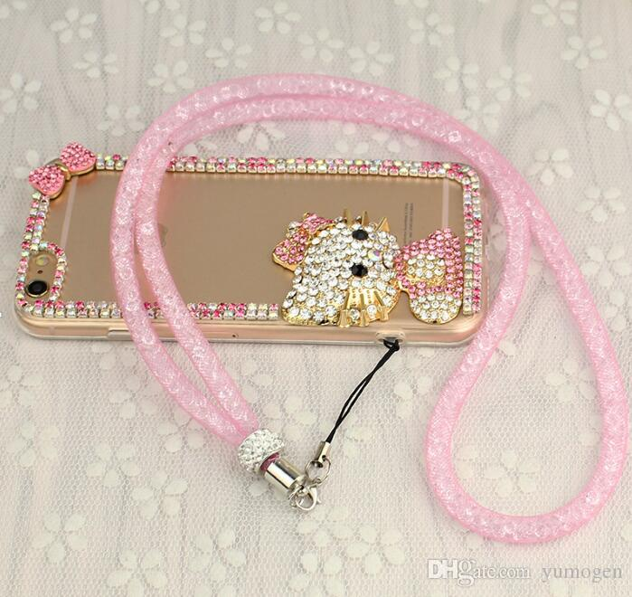 Luxury Rhinestone Lanyard Diamond Crystal Hanging Rope Bling Necklace String Neck Chain Sling for iphone ID Card Keychain Mobile phone