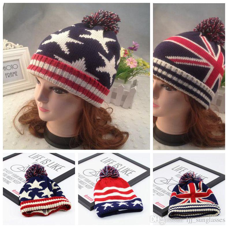 3 Styles Autumn Winter Hat Children Kids Flag Cotton Beanies Cap Pom Pom Ball Knitted Beanies Stripe and Stars Hats CCA7507 20pcs