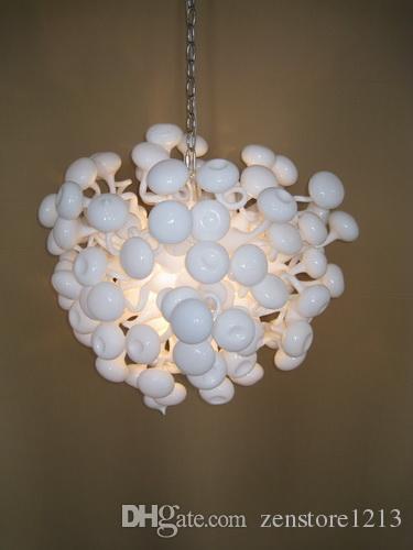 Art Deco Blown Glass Candelabro Branco Lâmpadas de Poupança de Energia de Decoração Para Casa Pendurado Cadeia Lustre com CE Certificado UL