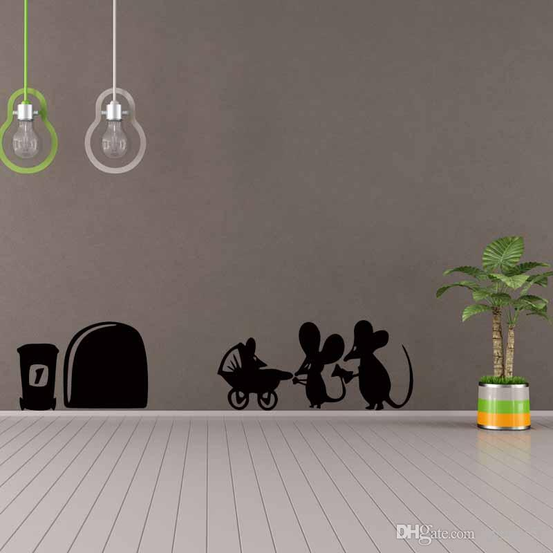Children Mouse Family Hole Wall Stickers Room Decoration Vinyl ...
