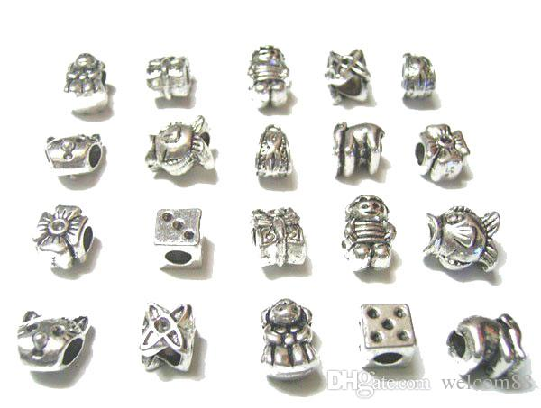 Mix Style Tibet Silver Metals Charm Loose Beads For DIY European Bangle Bracelet Jewelry Craft Gift C18 Free Ship