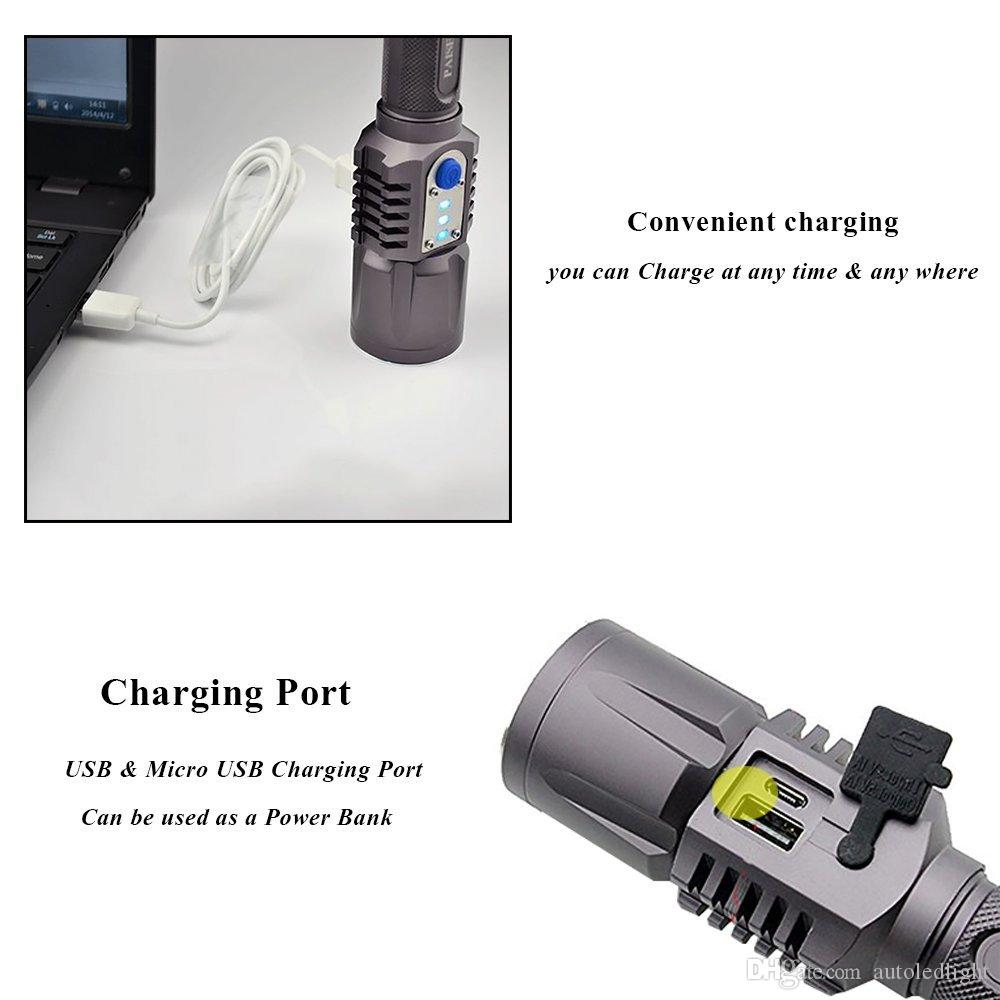 Éclairage portable USB rechargeable lampe de poche LED XM-L2 lanterne haute puissance torche 3800 lumière zoomables lanterne lampe de poche tactique Torches