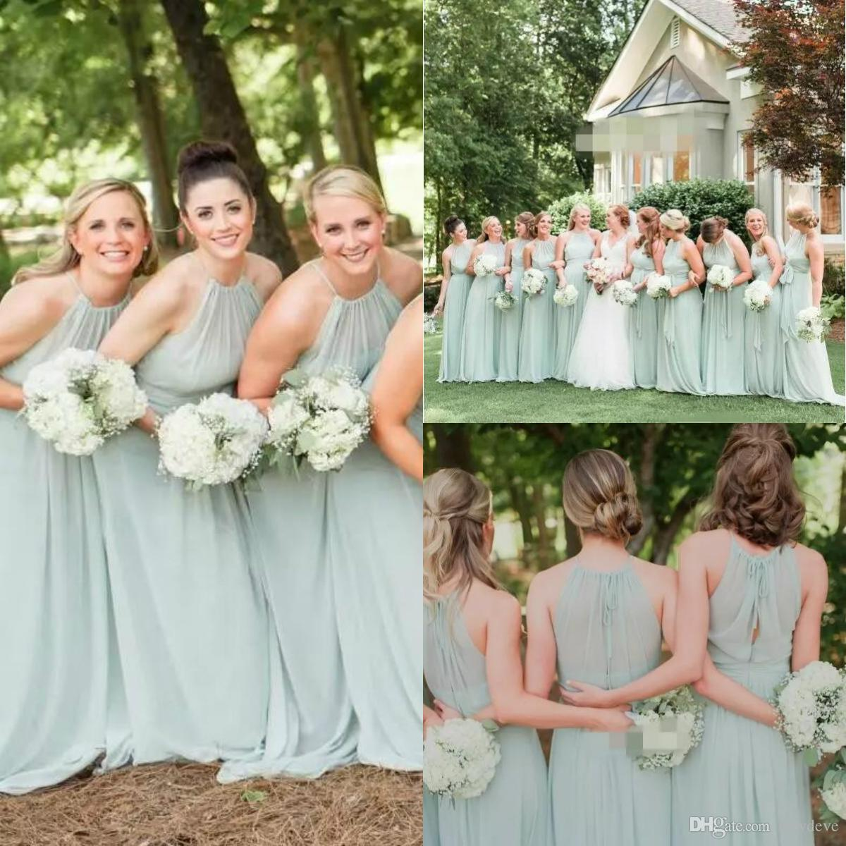 2f64da69a3a Cheap Beach Bridesmaids Dress Mint Green Country Bridesmaid Gowns Halter  Long A Line Maid Of Honor Dress Stunning Bridesmaid Dresses Black Junior  Bridesmaid ...