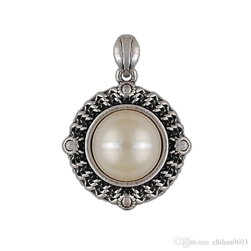 1 peça / lote pingente redondo pérolas antiga colar de prata