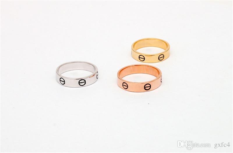 2017 новый горячий модный бренд 316L из нержавеющей стали винт любовь палец кольцо многоцветные покрытие не камень стиль любителей ювелирных изделий