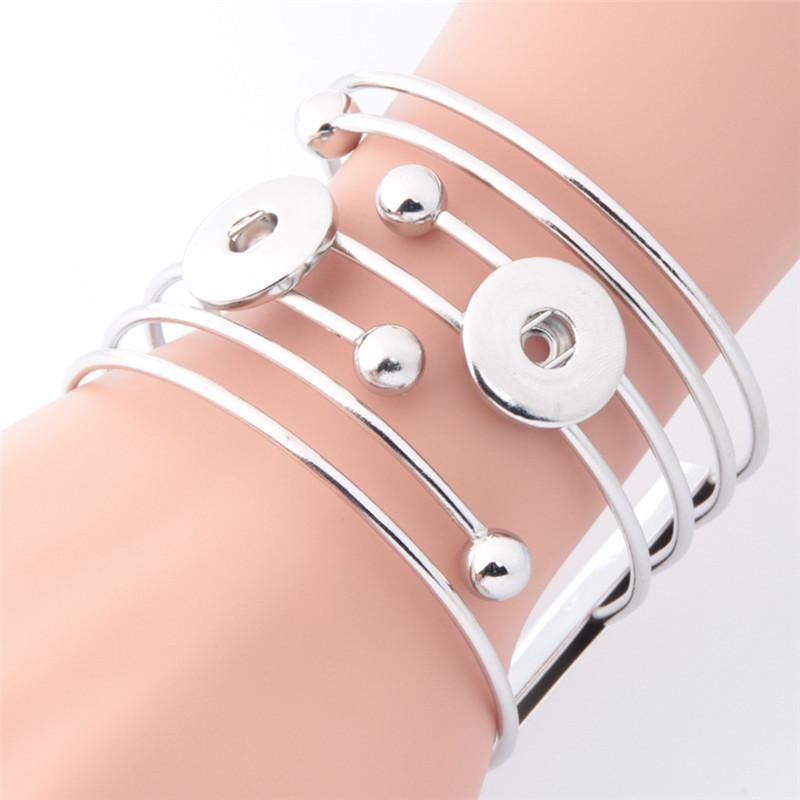 Snap Pulseira Bangles caber DIY 18MM pressão Acessórios Alloy Cuff pulseira do sexo feminino casamento Jóias Uma direção Watche Mulheres Charm Bracelet