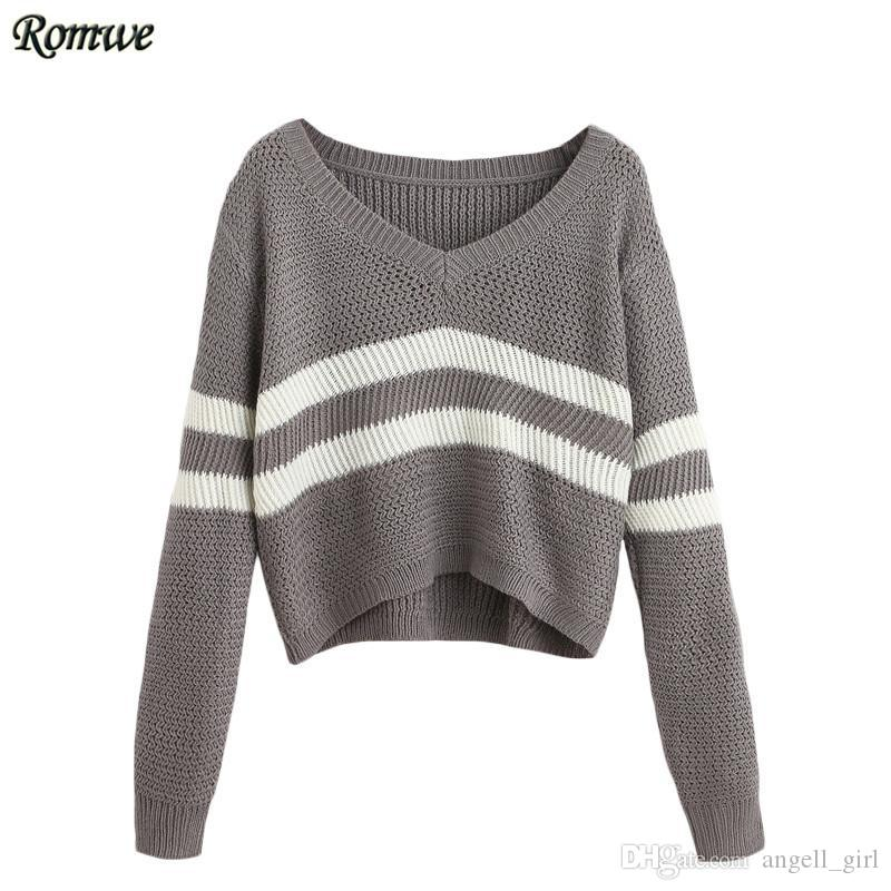 2018 Wholesale Romwe Casual Pullover Sweaters For Women 2016 New ...