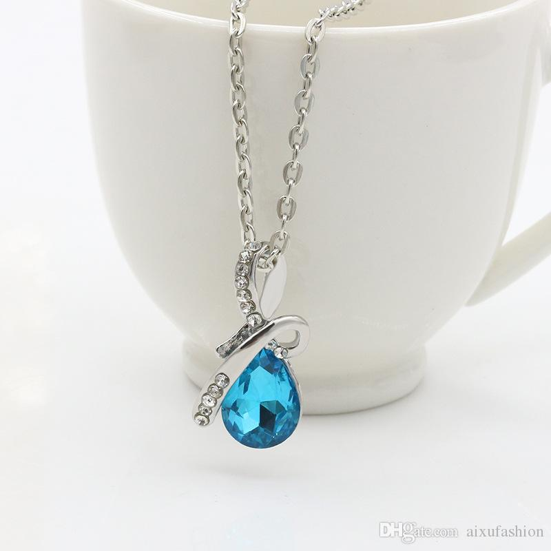 Crystal Pendant Necklaces New Popular Water Drop Gemstone Necklace Girls Gifts Fashion Women Crystal Jewelry For Party Wholesale